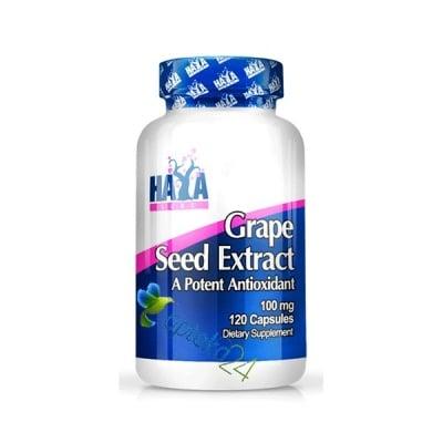 Haya Labs Grape seed extract 100 mg. 120 capsules / Хая Лабс Гроздово семе екстракт 100 мг. 120 капсули
