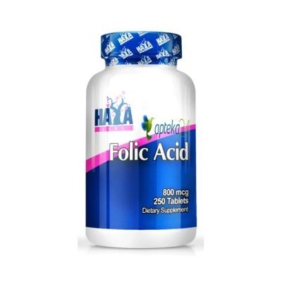 Haya Labs Folic acid 800 mcg. 250 tablets / Хая Лабс Фолива киселина 800 мкг. 250 таблетки, Брой таблетки: 250