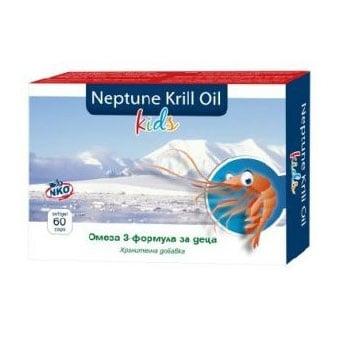 Neptune Krill Oil Kids / Нептун Масло от крил за деца, Брой капсули: 60