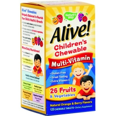 Alive Multi-vitamin 1.55 g. 120 tablets Nature's Way / Алайв дъвчащи мултивитамини за деца 1,55 гр. 120 таблетки Nature's Way