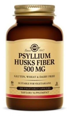 Psyllium husks fibre 500 mg 200 capsules Solgar / Псилиум 500 мг. 200 капсули Солгар