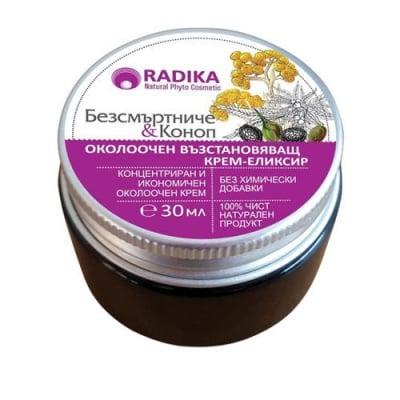 Radika Intensive Repair Night Eye Cream-elixir with Immortelle and Hemp Oil 30 ml / Радика Нощен Възстановяващ Околоочен Крем-еликсир с Безсмъртниче и Коноп 30 мл.