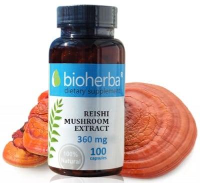 Bioherba Mushroom extract 360 mg 100 capsules / Биохерба Рейши екстракт 360 мг. 100 капсули