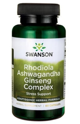 Swanson Rhodiola, ashwagandha, ginseng complex 60 capsules / Суонсън Родиола, ашваганда и женшен комплекс 60 капсули
