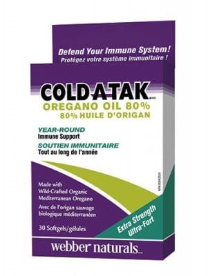 Cold-a-tak oregano oil 80% 30 softgels Webber Naturals / Масло от риган 80% 30 капсули Уебър Натуралс