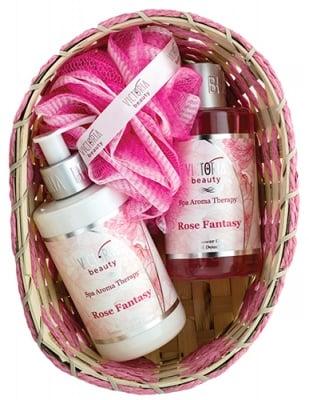 Victoria Beauty Set Spa Aroma Therapy Rose Fantasy Body lotion 250 ml + Shower gel 250 ml + Basket + Bath sponge / Виктория Бюти Комплект Спа Арома Терапи Роуз Фантази Лосион за тяло 250 мл. + Душ-гел 250 мл. + Гъба за баня + Кошничка