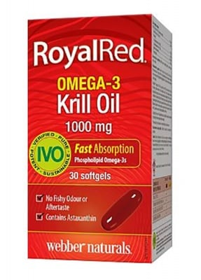 Royalred Omega-3 krill oil 1000 mg 30 capsules Webber Naturals / Масло от крил Омега-3 роял ред 1000 мг. 30 капсули Уебър Натуралс