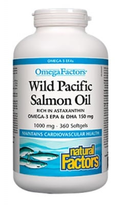 Wild pacific salmon oil 1000 mg 360 capsules Natural Factors / Дива тихоокеанска сьомга 1000 мг. 360 капсули Натурал Факторс