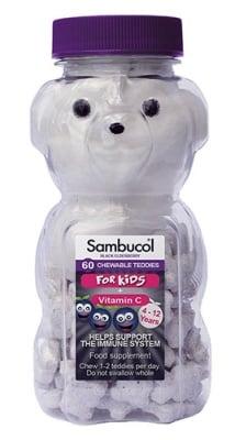 Sambucol teddies for kids 60 chewable / Самбукол мечета 60 дражета