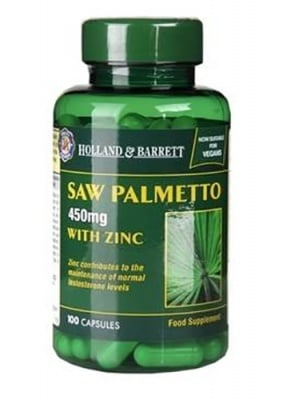 Saw palmetto with zinc 100 capsules Holland & Barrett / Сао Палмето + Цинк 100 капсули Holland & Barrett