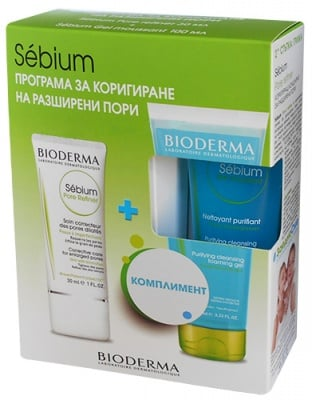Bioderma Sebium Set Pore Refiner 30 ml. + Gel moussant 100 ml. / Биодерма Себиум комплект Pore Refiner концентрат 30 мл. + гел мусант 100 мл.