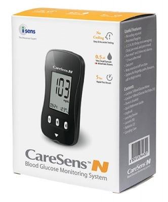 Blood Glucose Monitoring System Caresens N + 10 pcs. Test Strips / Апарат За Измерване на Кръвна Захар Кеърсенс N + 10 броя Тест Ленти