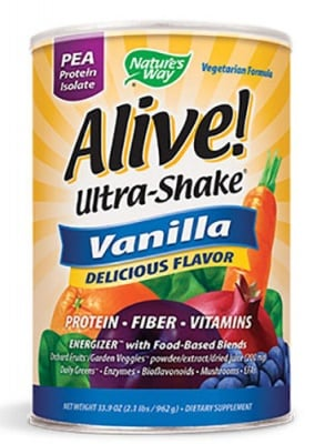 Alive Ultra shake protein Vanilla flavored 555 g. Nature's Way / Алайв Ултра шейк грахов протеин с вкус на Ванилия 555 гр.Nature's Way
