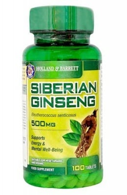 Siberian ginseng 500 mg 100 tablets Holland & Barrett / Сибирски Жен Шен 500 мг. 100 таблетки Holland & Barrett