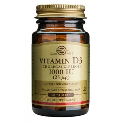 Solgar Vitamin D3 1000 IU 90 tablets / Солгар Витамин Д3 1000 IU 90 таблетки