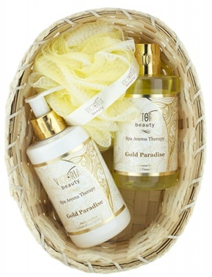 Victoria Beauty Set Spa Aroma Therapy Gold Paradise Body lotion 250 ml + Shower gel 250 ml + Basket + Bath sponge / Виктория Бюти Комплект Спа Арома Терапи Голд Парадайс Лосион за тяло 250 мл. + Душ-гел 250 мл. + Гъба за баня + Кошничка