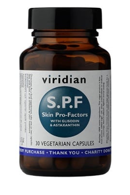 Skin pro- factors S.P.F with Glisodin & Astaxanthin 30 capsules Viridian / Формула за UV защита със супероксид дисмутаза (SOD) и астаксантин 30 капсули