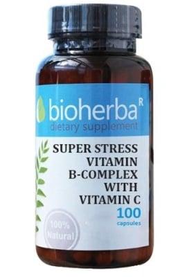 Bioherba super stress vitamin b-complex with vitamin C 100 capsules / Биохерба Супер стрес Б-комплекс + витамин Ц 100 капсули