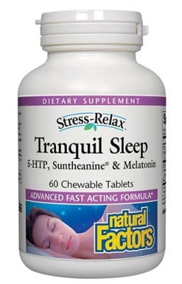 Tranquil sleep 60 chewable tablets Natural Factors / Транквил слийп стрес - релакс 60 дъвчащи таблетки Натурал Факторс