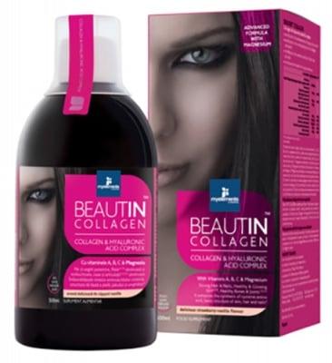 Beautin Collagen Magnesium with strawberry and vanilla flavor 500 ml. / Бютин Колаген с Магнезий разтвор с вкус на ягода и ванилия 500 мл.