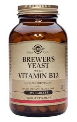 Brewer's yeast with Vitamin B12 Solgar / Бирена мая + Витамин Б 12 250 таблетки Солгар