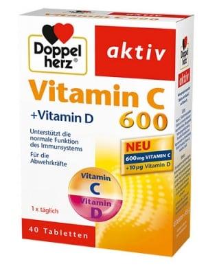 Doppelherz Activ Vitamin C + Vitamin D3 40 tablets / Допелхерц Актив Витамин Ц 600 + Витамин  Д3 40 таблетки