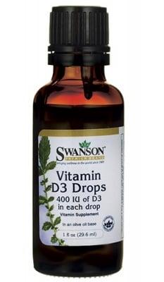 Swanson Vitamin D3 drops 400 IU 29.6 ml / Суонсън Витамин Д3 капки 400 IU 29.6 мл.