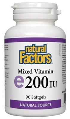 Vitamin E 200 IU 90 capsules Natural Factors / Витамин Е 200 IU 90 капсули Натурал Факторс