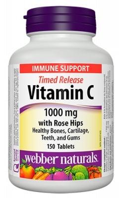 Vitamin C 1000 mg + rose hips 150 tablets Webber Naturals / Витамин Ц 1000 мг + шипка 150 таблетки с удължено освобождаване Уебър Натуралс