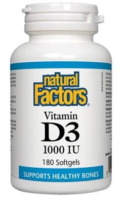 Vitamin D3 1000 IU 180 softgels Natural Factors / Витамин Д3 1000 IU 180 софтгел капсули Натурал Факторс