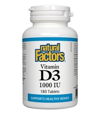 Vitamin D3 1000 IU 180 tablets Natural Factors / Витамин Д3 1000 IU 180 таблетки Натурал Факторс