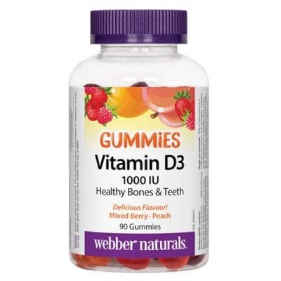 Vitamin D3 1000 IU 90 gummies Webber Naturals / Витамин Д3 Гъмис 1000 IU 90 желирани таблетки Уебър Натуралс
