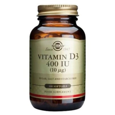Vitamin D3 10 mcg. (400 IU) 100 softgels Solgar / Витамин Д3 10 мкг. 100 меки капсули Солгар