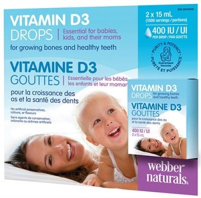Vitamin D3 drops 400 IU / UI 2 x 15 ml Webber Naturals / Витамин Д3 капки 400 IU / UI 2 x 15 мл Уебър Натуралс