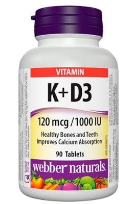 Vitamin K 120 mcg + D3 1000 IU 90 tablets Webber Naturals / Витамин К 120 мкг + Д3 1000 IU 90 таблетки Уебър Натуралс