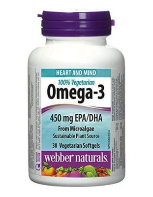 Omega-3 from microalgae 30 capsules  Webber Naturals / Омега-3 от водорасли 30 капсули Уебър Натуралс