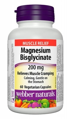 Magnesium bisglycinate 200 mg 60 capsules Webber Naturals / Магнезий бисглицинат 200 мг. 60 капсули Уебър Натуралс