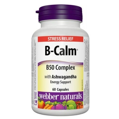 B-Calm B50 Complex with Ashwagandha 60 capsules Webber Naturals / Б-Калм Б50 Комплекс с Ашваганда 60 капсули Уебър Натуралс