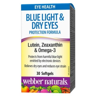 Blue Light & Dry Eyes Protection Formula Lutein, Zeaxanthin and Omega 3 30 softgels Webber Naturals / Блу Лайт & Драй Айс протeкшън формула Лутеин, Зеаксантин и Омега 3 30 меки капсули Уебър Натуралс