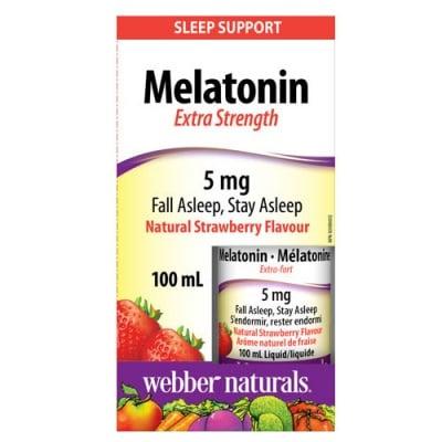Melatonin 5 mg liquid 100 ml Webber Naturals / Мелатонин капки с натурален аромат на ягода 100 мл. Уебър Натуралс