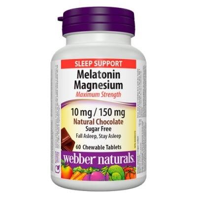 Melatonin + Magnesium 60 chewable tablets Webber Naturals / Мелатонин + Магнезий 60 дъвчащи таблетки Уебър Натуралс