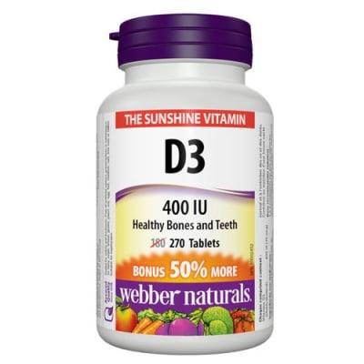Vitamin D3 400 IU 270 tablets Webber Naturals / Витамин Д3 400 IU 270 таблетки Уебър Натуралс