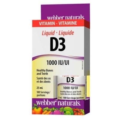 Vitamin D3 Liquid 1000 IU 25 ml Webber Naturals / Витамин Д3 течен 1000 IU 25 мл. Уебър Натуралс