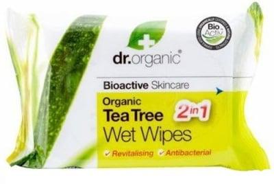 Dr. Organic Tea tree Wet wipes 20 pcs. / Др. Органик Чаено дърво Мокри кърпи 20 броя