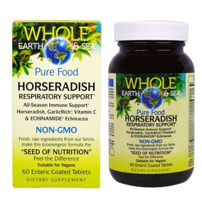 Whole Earth & Sea, Pure Food Horseradish 60 tablets Natural Factors / Хрян Комплекс 60 таблетки Натурал Факторс