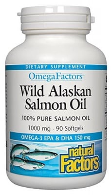 Wild pacific salmon oil 1000 mg 90 capsules Natural Factors / Дива тихоокеанска сьомга 1000 мг. 90 капсули Натурал Факторс