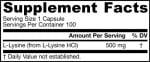 Jarrow Formulas L-lysine 500 m